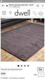 Dwell lancet rug large size. Charcoal. New