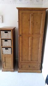Mamas and Papas Longhouse antique pine dresser/changer, cot/bed, single wardrobe and tallboy