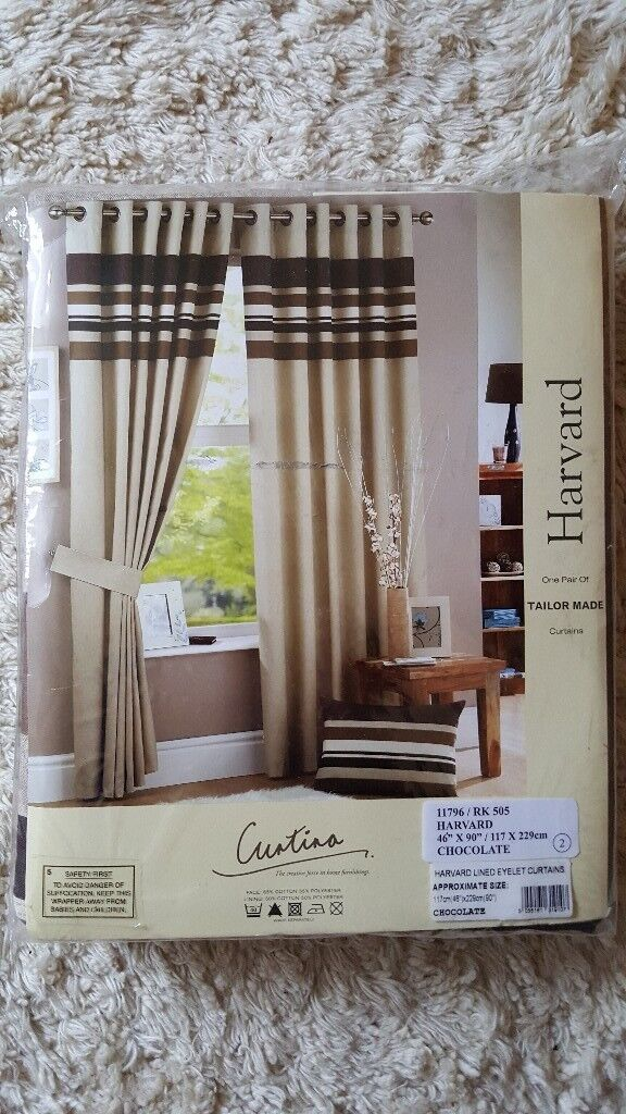 NEW Curtina Harvard Stripe Print Eyelet Lined Curtains Chocolate 46 X 90 Inch