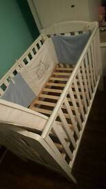 Baby cot & mattress & Side guards - white
