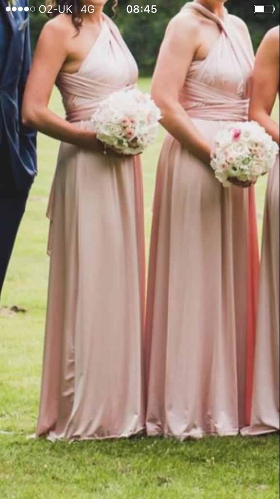 Two multiway pale pink bridesmaid dresses