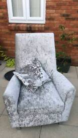 Crushed velvet arm chair