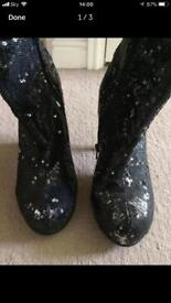 Black sequinned boots 5