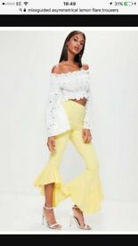 NEVER WORN*** Misguided lemon asymmetrical flare hem trousers