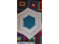 Crochet blanket - Hexagon - 100 cm across -hand crafte