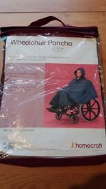 NEW UNIVERSAL WHEELCHAIR PONCHO 100% WATERPROOF RAIN COVER CAPE WITH HOOD PIC COATED POLYESTER