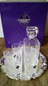 Edinburgh crystal decanter tray and 4 whisky glasses