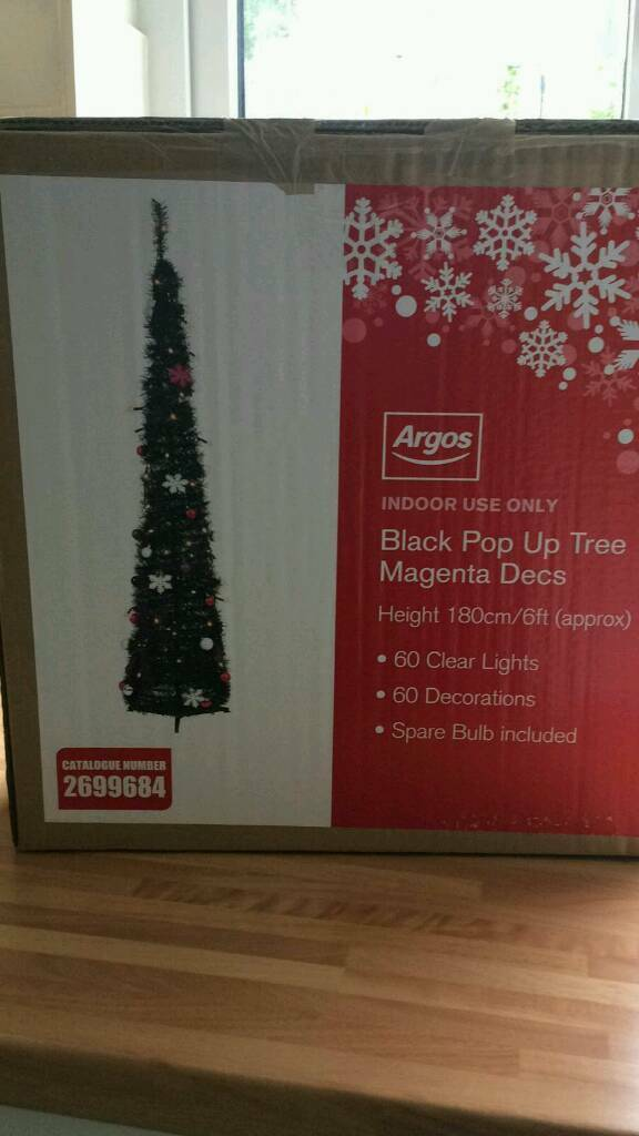6ft pop up black christmas tree with lights and decorations