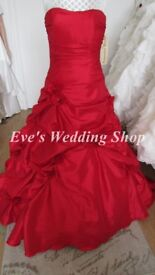 Scarlet red color Eternity Bride wedding dress UK 12