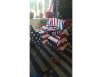 Garden/Indoor Bistro Set Complete, 2 chairs and table (table is like new, chairs are new