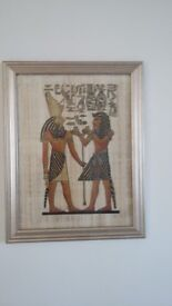 Egyptian Papyrus picture in silver frame