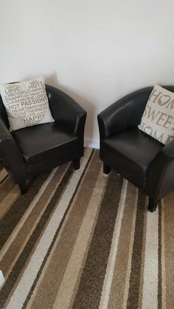 2 black real leather tub chairs | in Small Heath, West Midlands ...