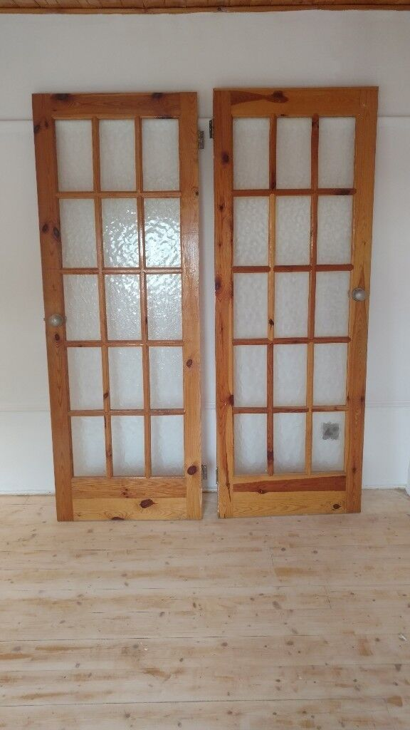 5 X Interior Doors Glass Panels Heavy Quality Pine Solid Wood 725