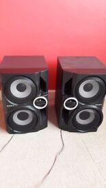 2 x Black Sony Speakers