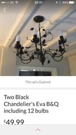 TWO BLACK CHANDELIERS 'EVA' all 12 bulbs included