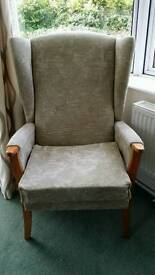 High back fabric wing chair