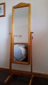 Freestanding tiltable full length mirror with light wood surround