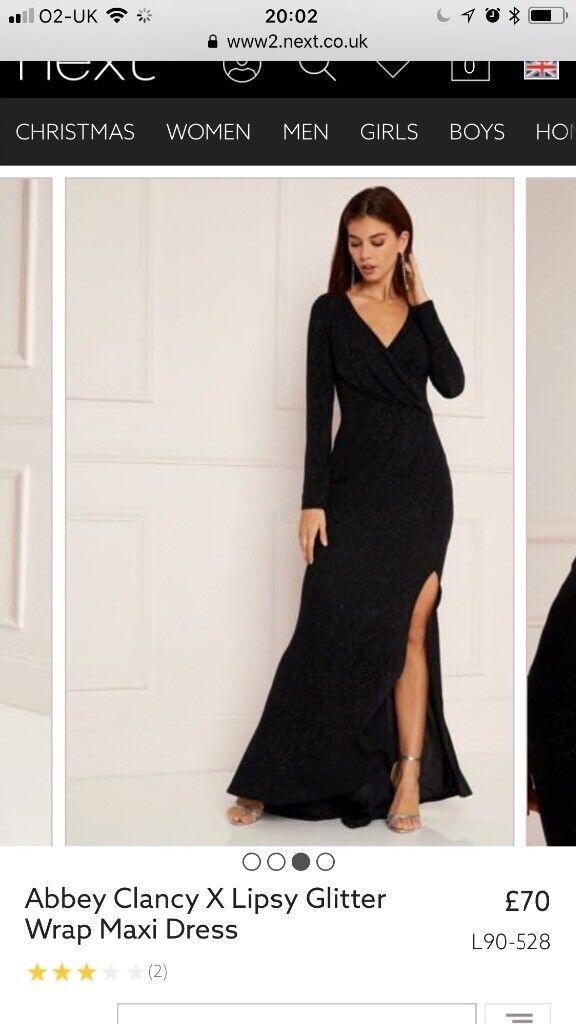 Abbey Clancy X Lipsy Black Sparkly Maxi Dress With Slit Size 14 In