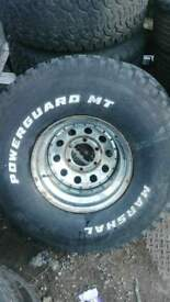 MARSHAL POWER-GUARD MT (Mud Terrain) TIRES IN EXCELLENT CONDITION WITH RIM INCLUDED X 4 WHEELS.