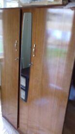 DOUBLE WARDROBE high quality Jack Sakol Ltd ANTIQUE double fronted wardrobe / centre mirror