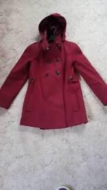Ladies Wine Red Coat Size 10/12
