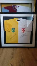 Brazil / England hand signed split shirt display with Coa