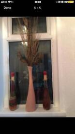 Vase with twigs and 2 glass bottle