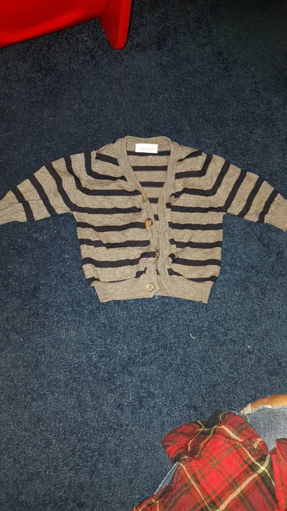 NEXT baby boys jumper up to 1 month grey and black stripes