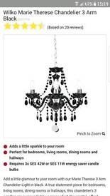 2x black chandeliers