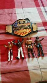 Wrestlers and belt as new