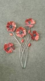 Brand new never hung red poppy wall art