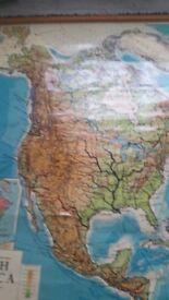 Vintage Schoolroom Map of North America