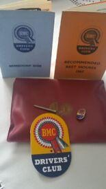 British motor company lorry badge and pin plus other memorabilia