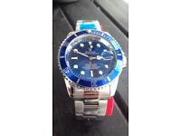 Blue faced silver Rolex Submariner #free 1st class recorded postage#
