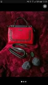 Brand new Red and grey leather handbag with pom pom