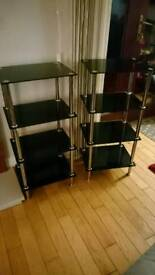 4 tier glass display shelf unit