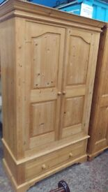 Large farmhouse pine double wardrobe with drawer