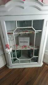 Shabby chic shelving cabinet with glass door