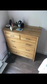 Oak chest of drawers and wardrobe