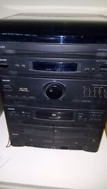 Philips five part audio hi-fi system including automatic turntable