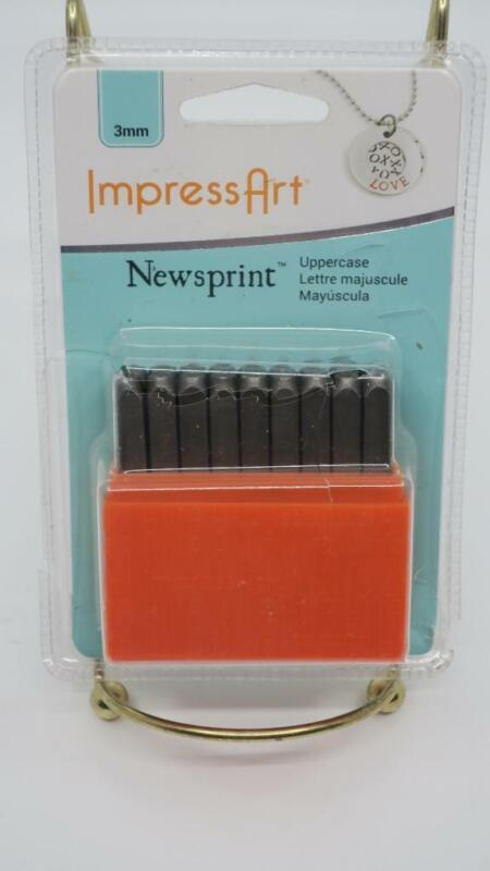 ImpressArt Uppercase Newsprint Alphabet 3MM Metal Stamp Set Jewelry Making Craft