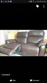 2 x 2 seater leather recliner sofas