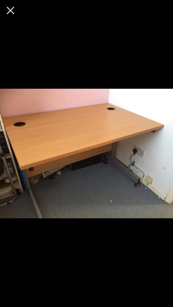 Beech office desk - excellent condition