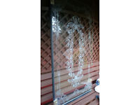 Bath shower screen etched glass