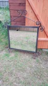 Mirror - solid, possible cast iron or steel ideal for upcycle