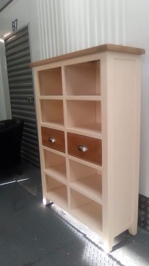 Cream and oak storage unit