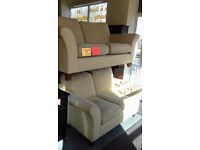2 Cream Draylon Settees / Suite / Sofa... Very Good Condition... Local Delivery......