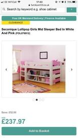 Pink & White mid sleeper/cabin bed & bookcase