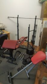 Weights bench dumbells metal weight abs legs machine