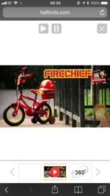 Child's Fireman Bike Age 3-5 for sale good condition